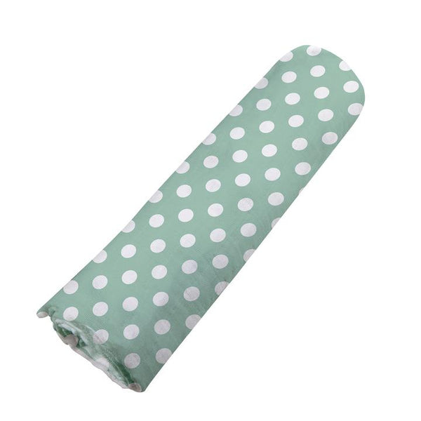 Modern Baby Swaddle Blanket Jade Polka Dot - Roll Up Baby