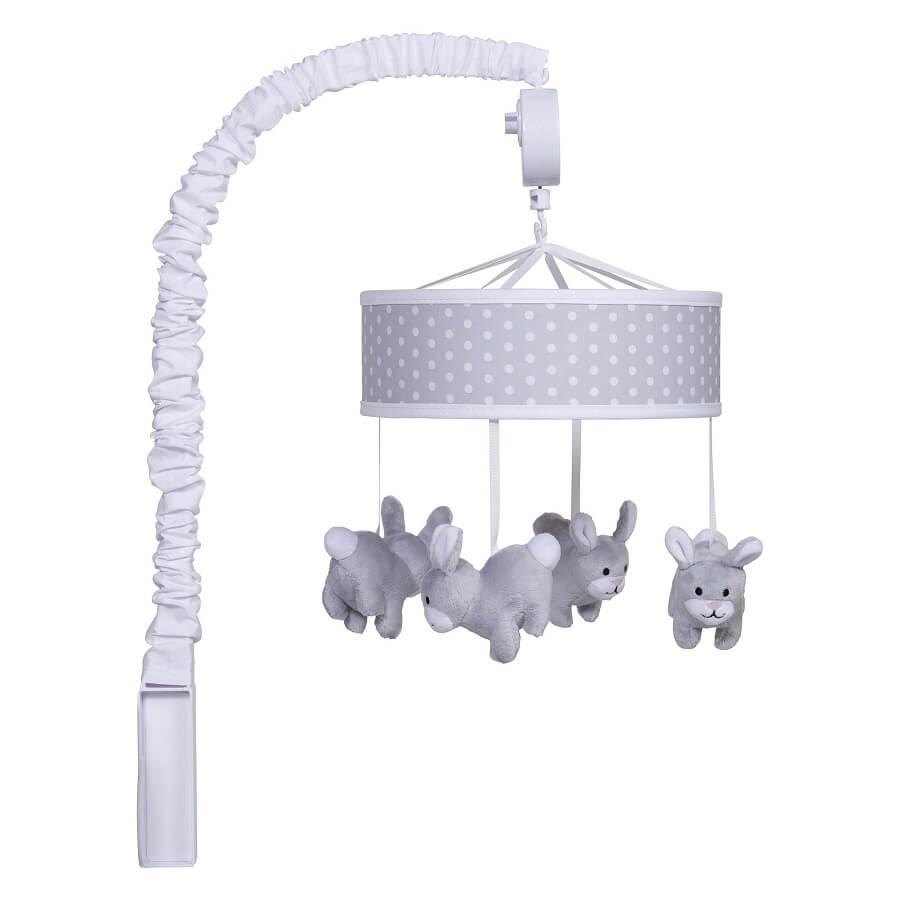 Musical Crib Mobile - Gray Bunny  - Roll Up Baby