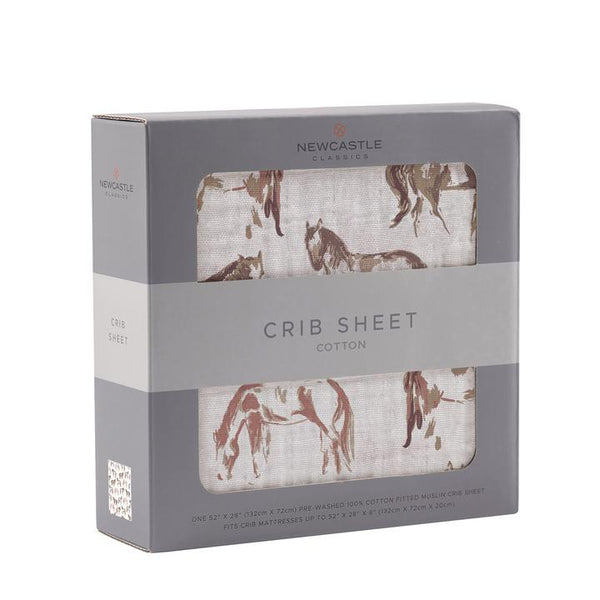 Muslin Crib Sheet - Wild Horses - Roll Up Baby