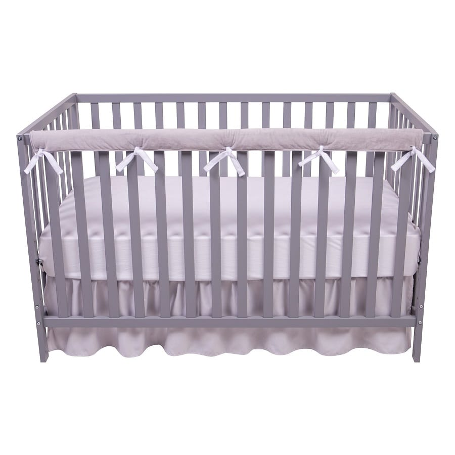 1 Narrow Long Reversible White & Gray Velour Rail Cover - Roll Up Baby
