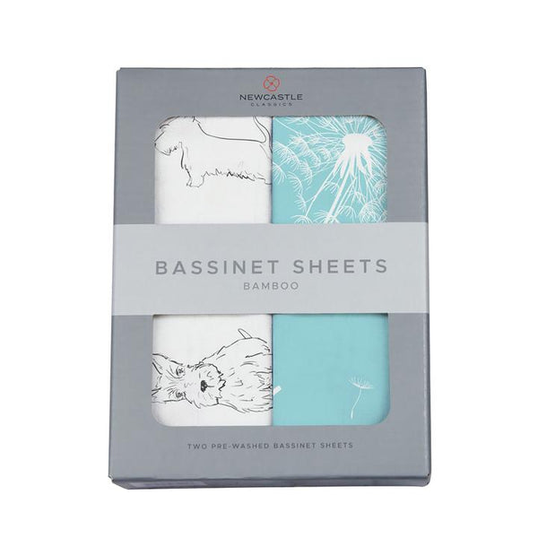 Organic Bassinet Sheets - Corgi & Dandelion Seeds - Roll Up Baby
