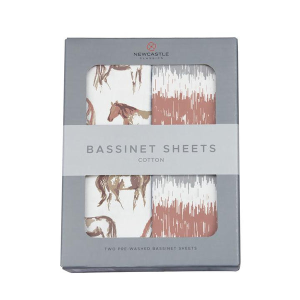 Organic Bassinet Sheets - Wild Horses & Western Stripe - Roll Up Baby