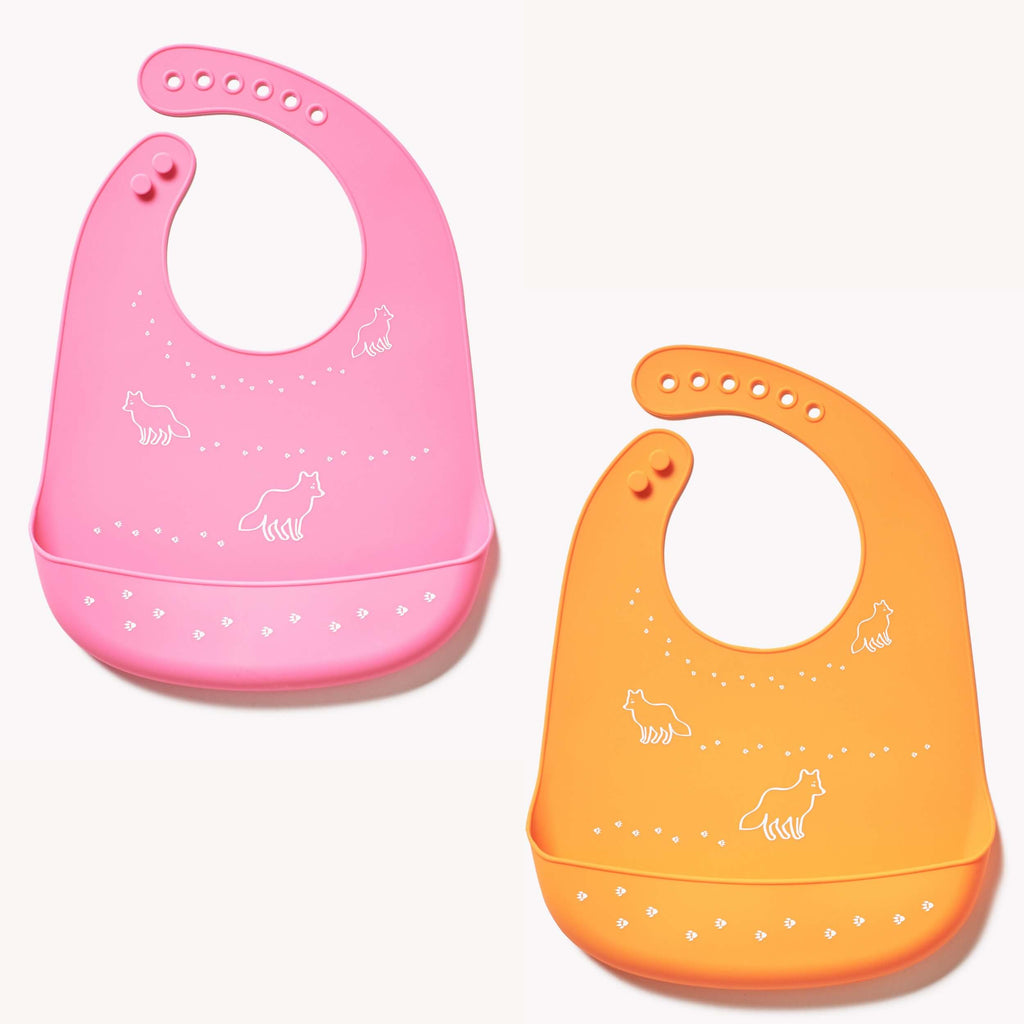 Silicone Baby Bibs Pack of 2 - Roll Up Baby