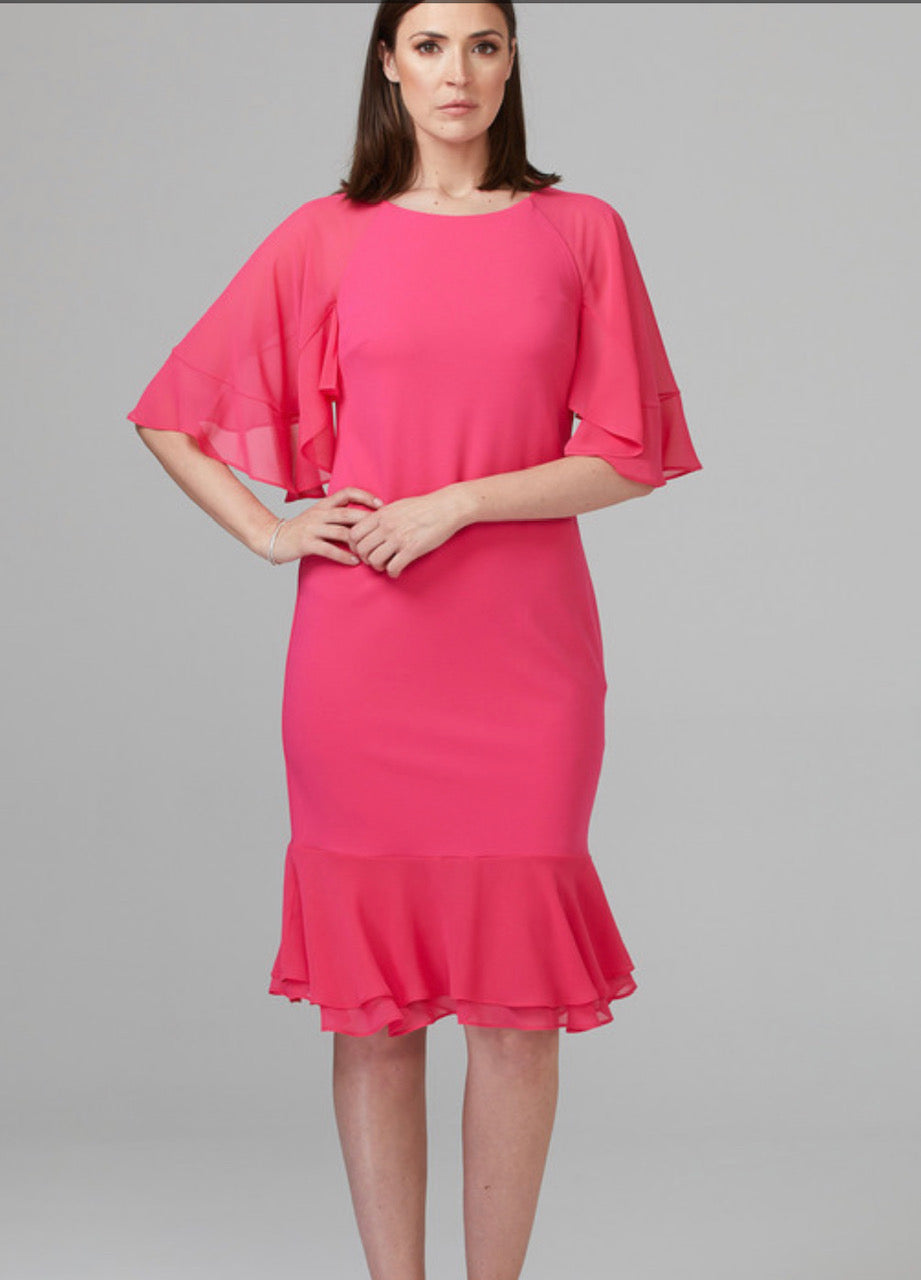 Joseph Ribkoff Ruffle Sleeve and Hem Dress