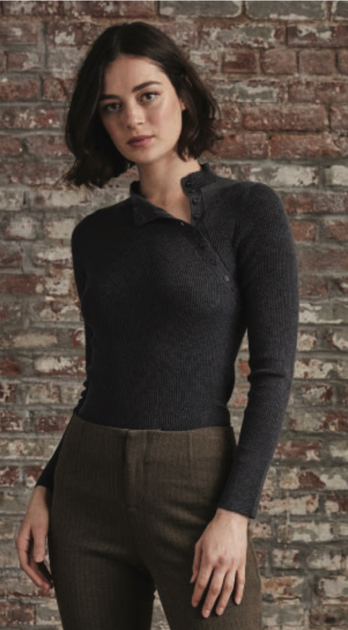 Ecru mock neck with button detail
