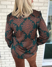 Load image into Gallery viewer, Esqualo Fern Print Ruffle Shoulder Blouse