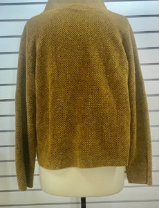 Eileen Fisher tweedy cotton chenille funnelneck sweater