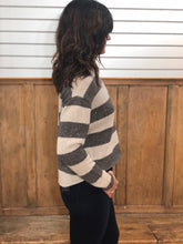 Load image into Gallery viewer, Autumn Cashmere cashmere hi lo sequin rugby stripe sweater