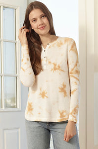 Lisa Todd Waffle Pop Tie-Dye Thermal Knit Long Sleeved Henley
