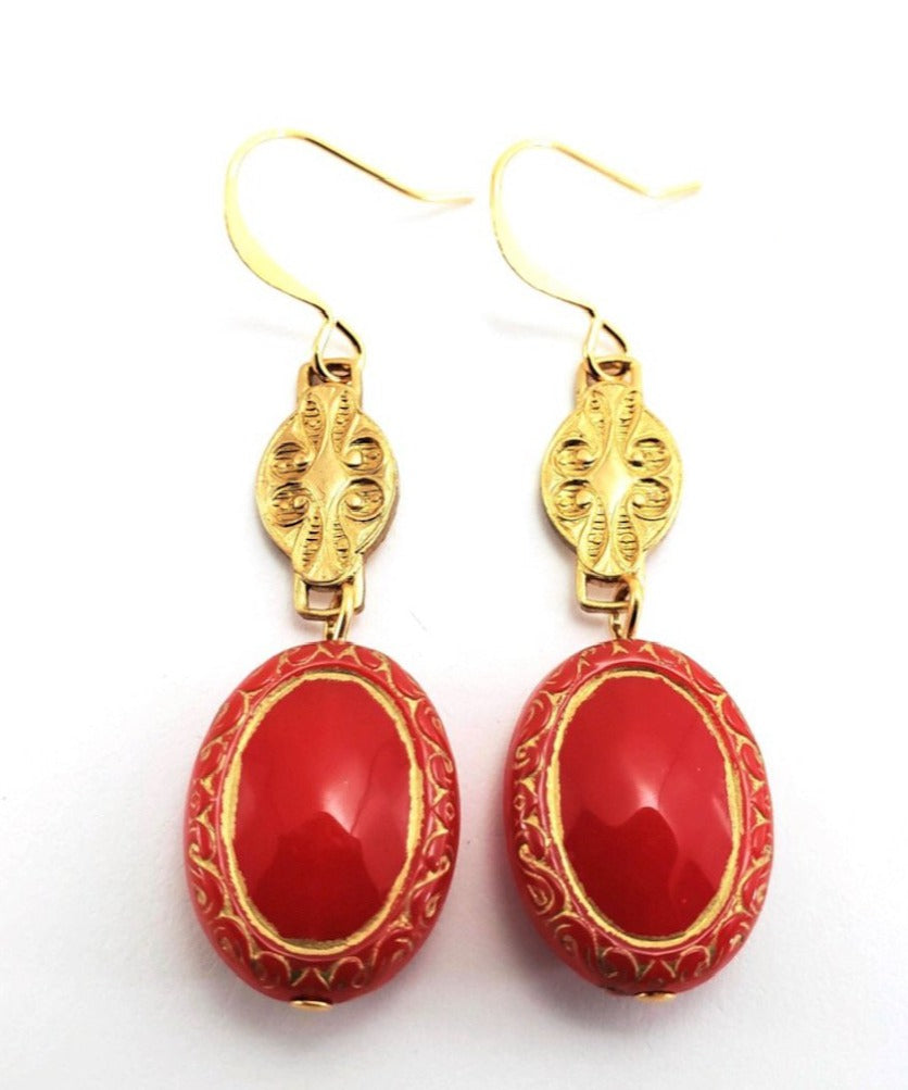 Verdier 1950's Etched Scarlet Oval Drops