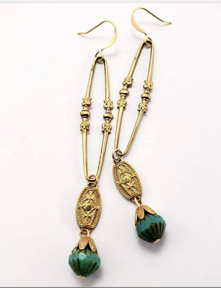 Verdier Vintage Brass Drops w/Picasso Beads