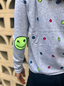 Lisa Todd Happy Days Cotton Happy Face Crewneck Sweater