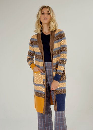 Zaket&Plover multi gauge stitch long cardigan