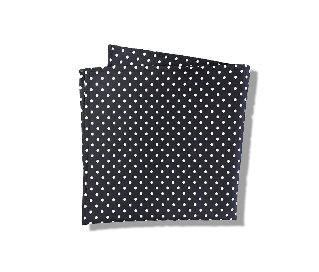 Egyptian Cotton Pocket Square in Navy Polka Dot