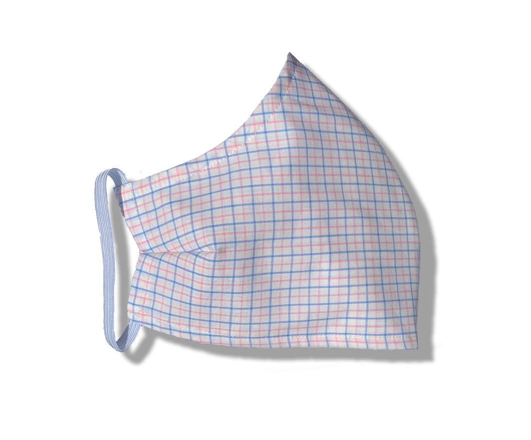 Pink and Blue Check Tailored Face Mask