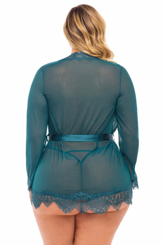 Eyelash robe with satin sash teal - plus size gown - CurvynBeautiful