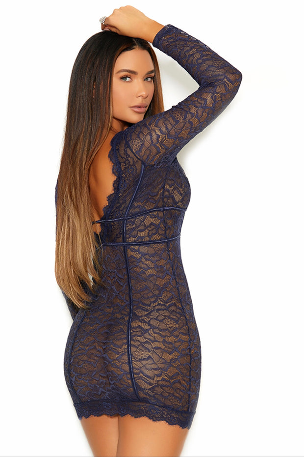 Eyelash lace, double band empire waist dress