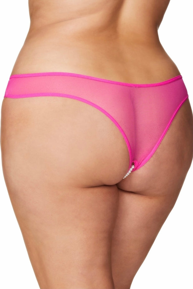 Crotchless Pearl Panty pink