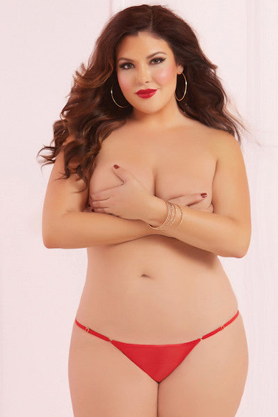 Mesh thong red - plus size panty - Curvynbeautiful Plus size lingerie - 1