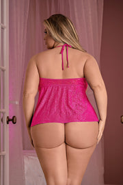 Cupless & Crotchless Baby doll & G-String pink