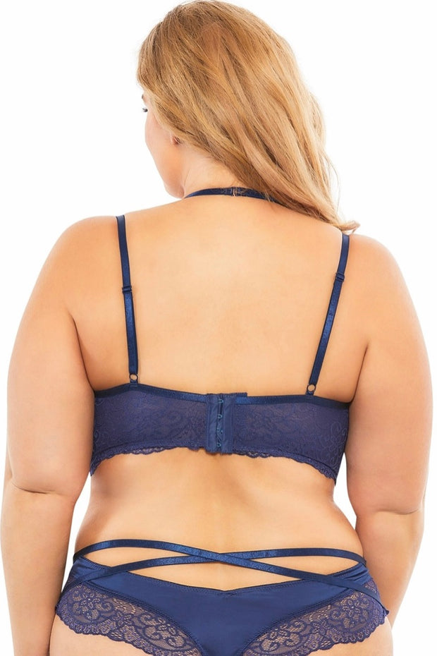 Lace push up balconette - plus size bra set - CurvynBeautiful