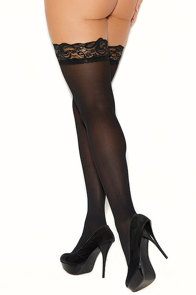 Opaque thigh hi - plus size stocking - CurvynBeautiful