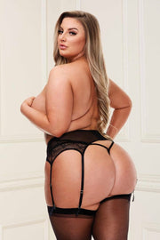 Lace garter belt black - plus size garter belt - CurvynBeautiful