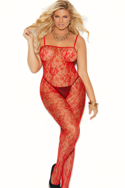 Rose lace bodystocking - plus size bodystocking - CurvynBeautiful