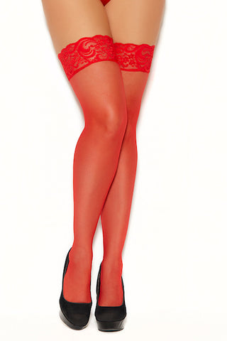 Sheer lace top thigh hi red
