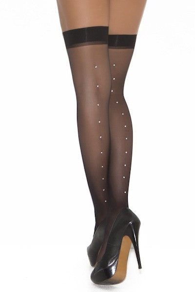 Sheer thigh hi with rhinestone back seam - plus size stocking - CurvynBeautiful