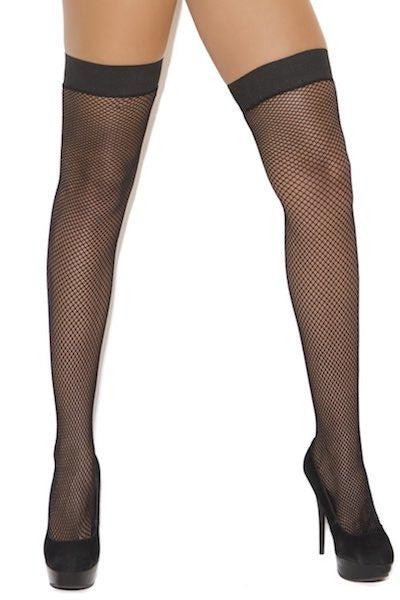 Fishnet thigh hi with stay up silicone top - plus size stocking - CurvynBeautiful