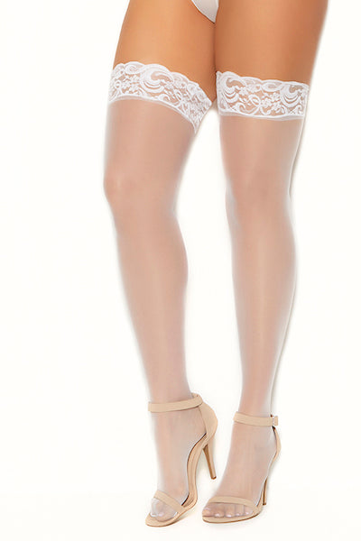 Sheer thigh hi with lace top white