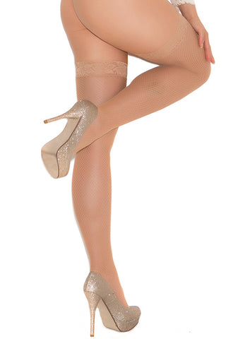 Fishnet thigh hi with lace top nude - plus size stocking - CurvynBeautiful