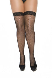 Fishnet thigh hi with lace top - plus size stocking - CurvynBeautiful
