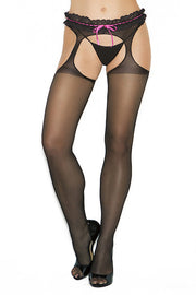 Sheer suspender pantyhose - plus size bodystocking - CurvynBeautiful