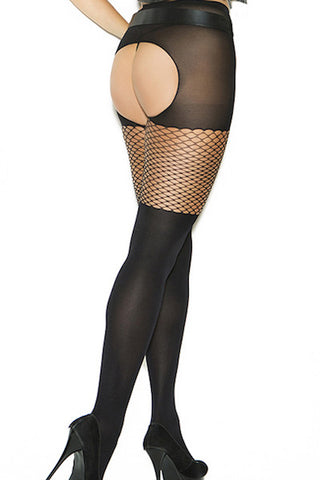 Opaque crotchless pantyhose - plus size bodystocking - Curvynbeautiful Plus size lingerie - 2