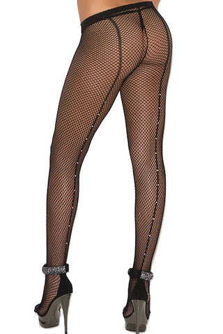Fishnet pantyhose with rhinestone back seam. - plus size pantyhose - CurvynBeautiful