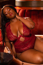 Lace teddy Adelle merlot - plus size teddy - CurvynBeautiful