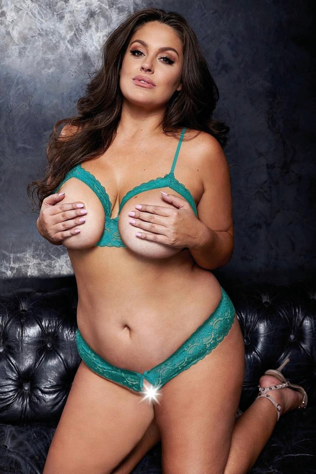Peek a boo bra set teal