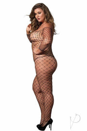 Fence Net Off The Shoulder Long Sleeved Bodystocking