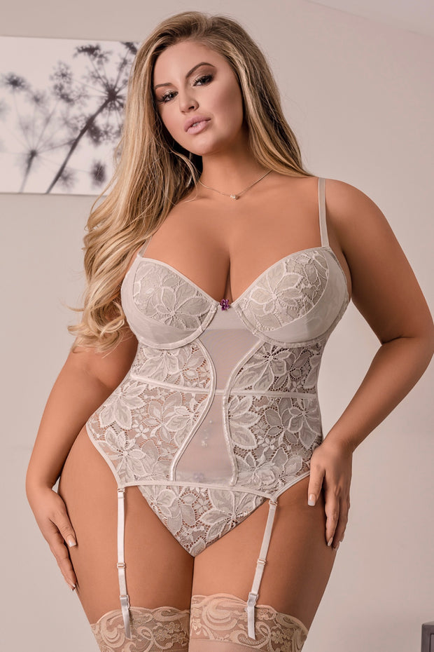 Nude corset and g-string - plus size corset - CurvynBeautiful