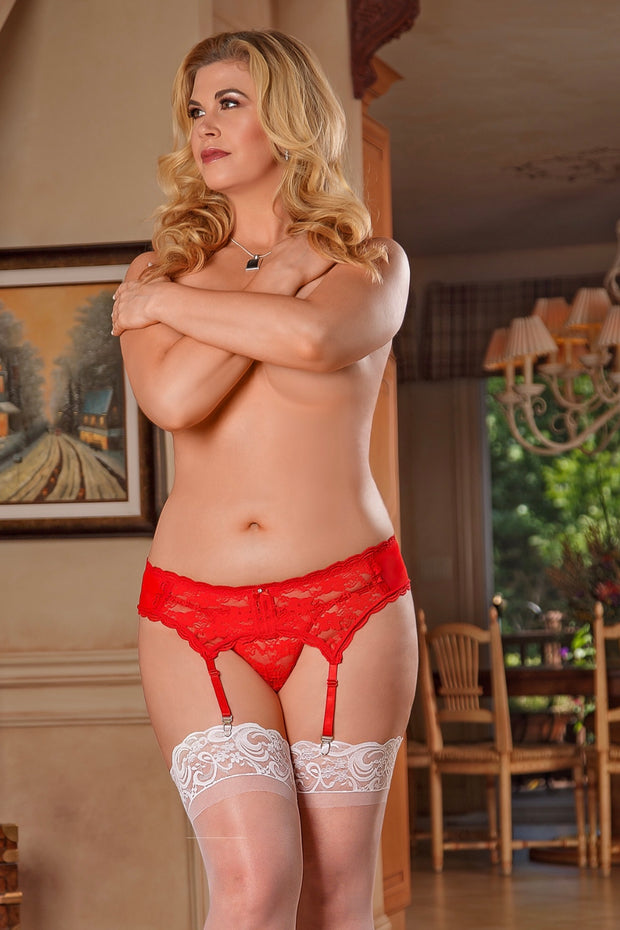 Lace garter belt Red - plus size garter belt - CurvynBeautiful