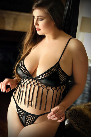 Fringe bralette and panty set - plus size bra set - CurvynBeautiful