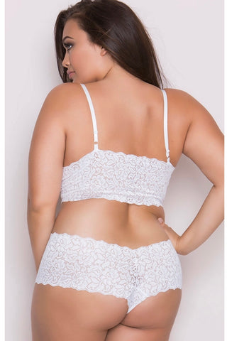 Stretch  booty short and Bralette white