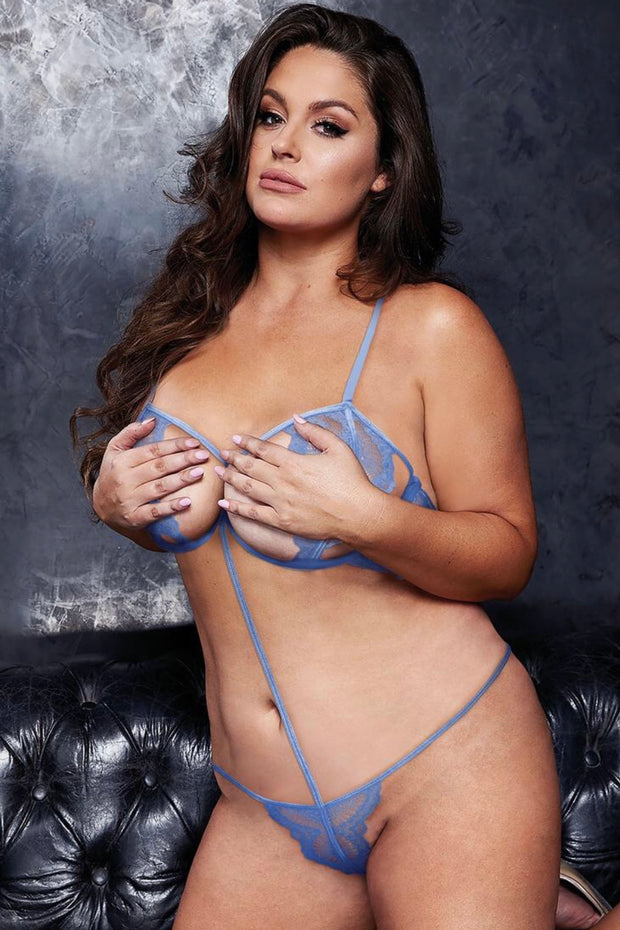 Sexy strappy teddy blue