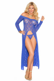 Long sleeve lace gown royal