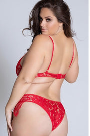 Lace teddy dusty red - plus size teddy - CurvynBeautiful