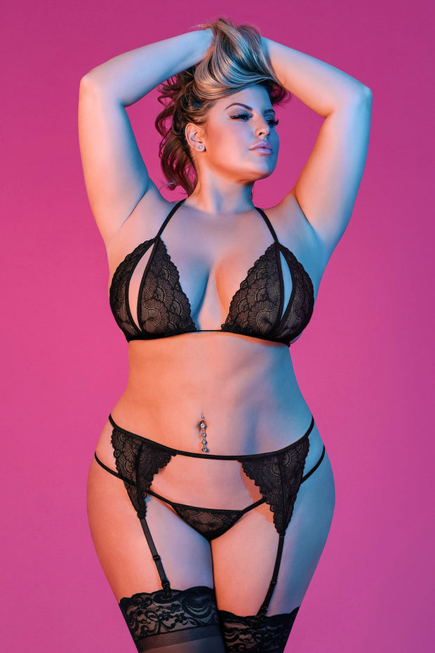 Peek-a-Boo Bra, Garter & G-Set - plus size bra set - CurvynBeautiful