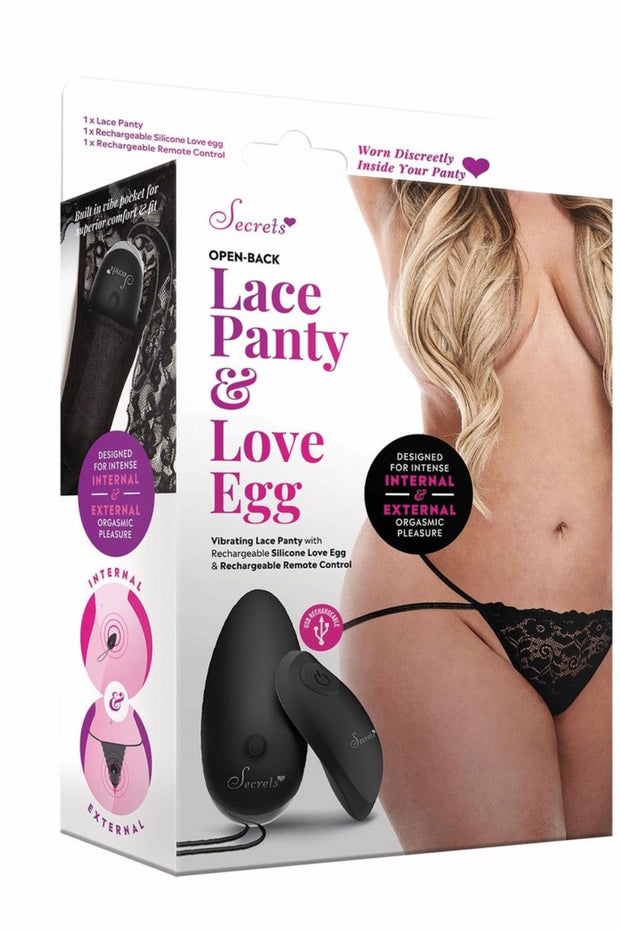 Vibrating Open back recharge panty black