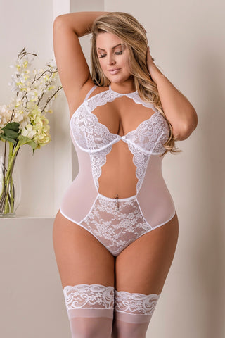 Keyhole Teddy white - plus size teddy - CurvynBeautiful